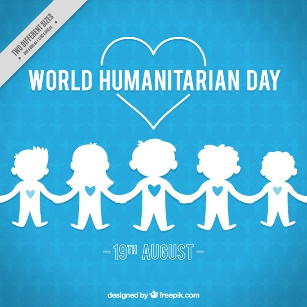 Blue background with children of humanitarian day Free Vector
