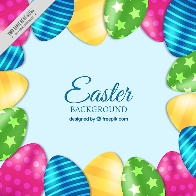 Blue background with colorful easter eggs in\ realistic style