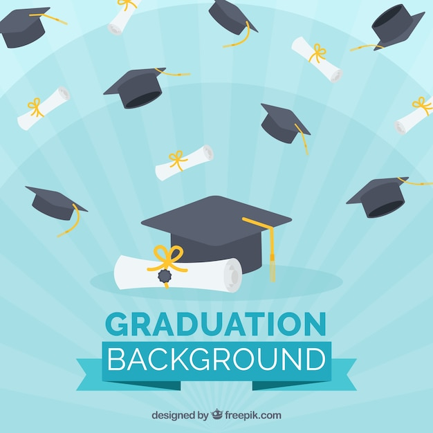 Blue background with diplomas and graduation caps Vector ...