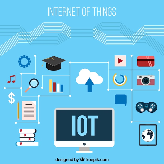 Blue background with elements of internet things in flat design Free Vector