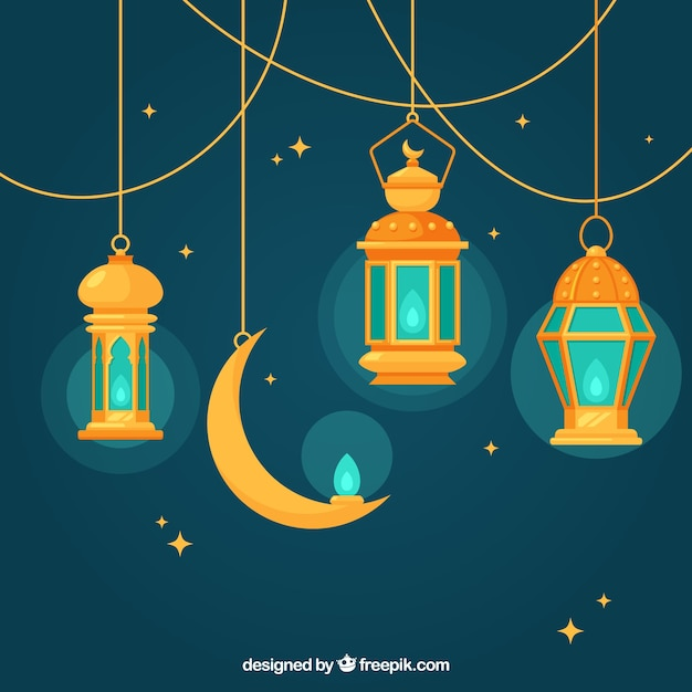 Blue background with flat lamps and moon for ramadan