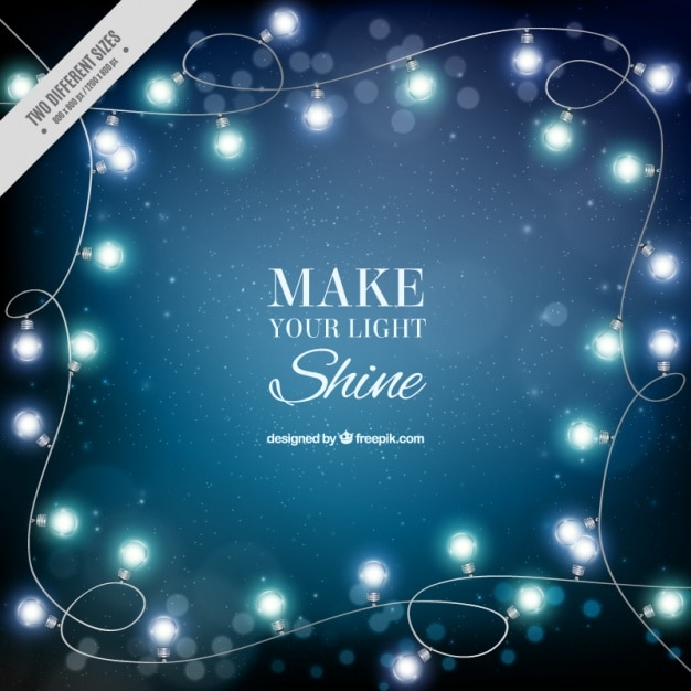 Blue background with garlands of lights Free Vector