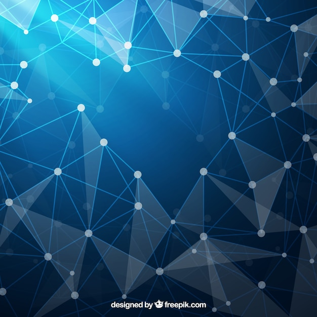 Blue background with geometric shapes Vector | Free Download