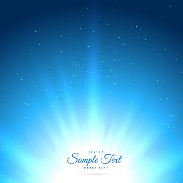 Blue background with glowing sunburst Free Vector