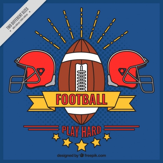 Blue background with hand drawn american\ football badge