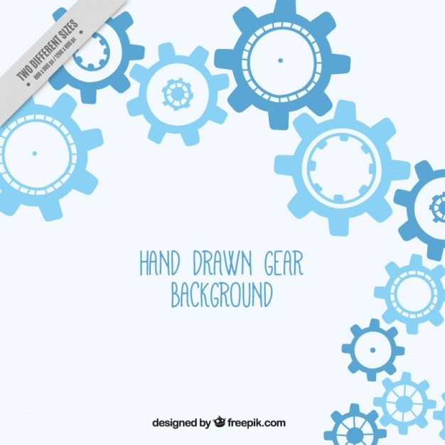 Blue background with hand-drawn gears Free Vector