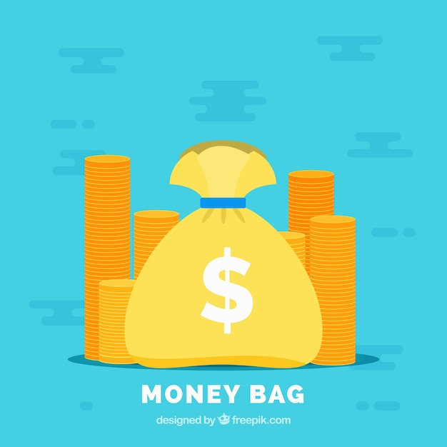 Blue background with money bag and coins