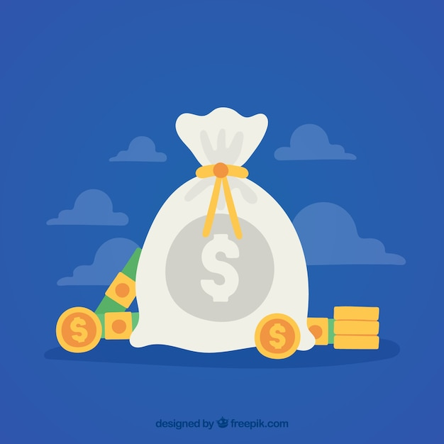 Blue background with money bag in flat\ design