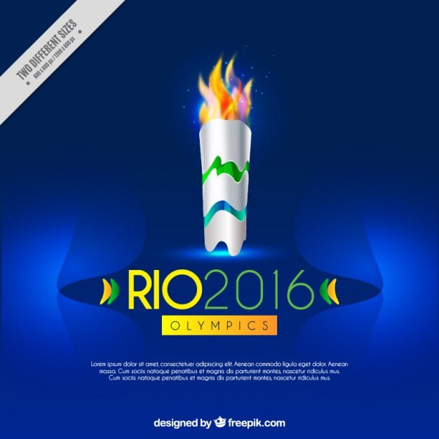 Blue background with olympic torch Free Vector