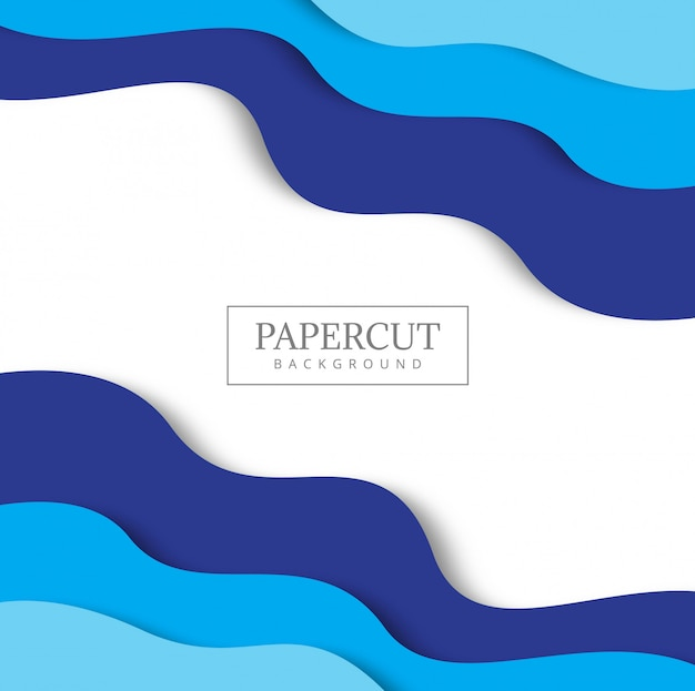 Blue background with paper cut shapes.  Free Vector