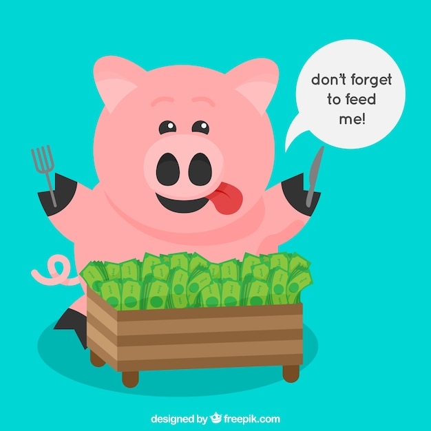 Blue background with piggy bank piggy bank eating banknotes Free Vector