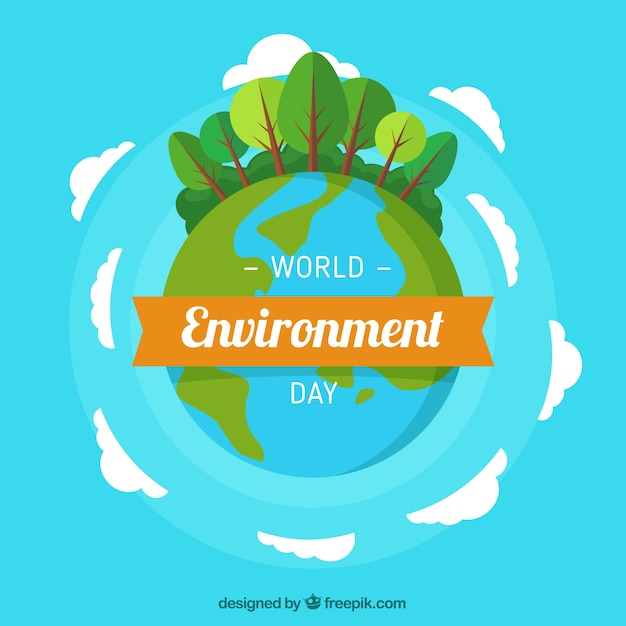 Blue background with planet earth and trees Free Vector