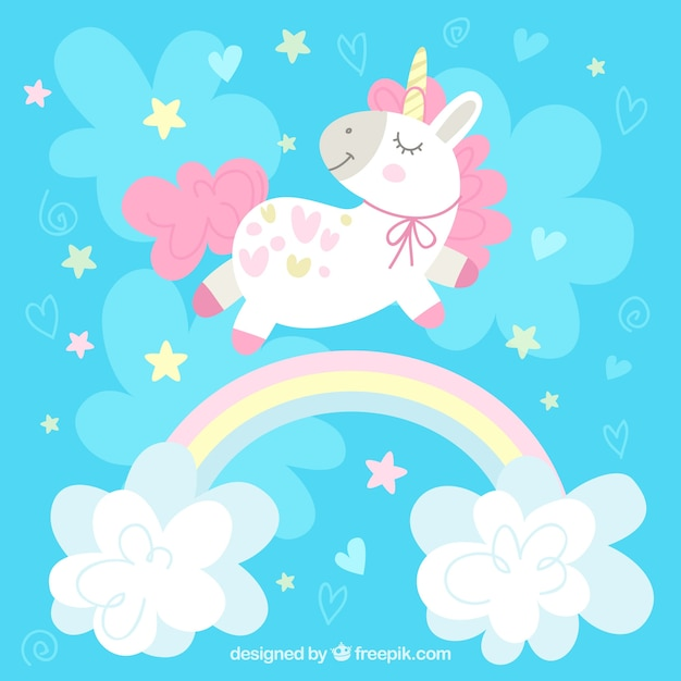 Blue background with pretty unicorn and rainbow with clouds Premium Vector