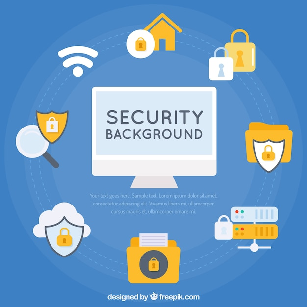 Blue background with security elements in flat design Free Vector