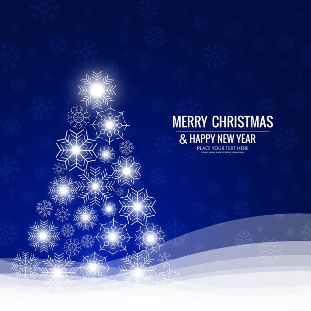Blue background with shiny christmas tree Free Vector