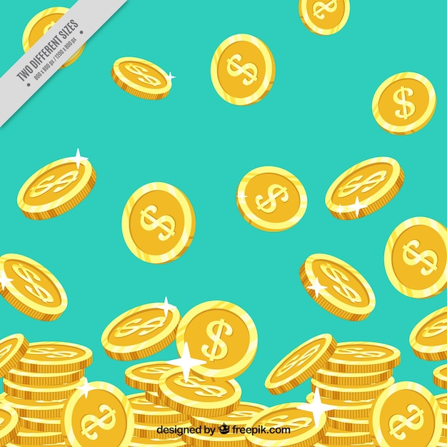 Blue background with shiny golden coins Free Vector