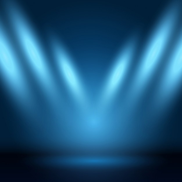 Blue background with show lights Free Vector