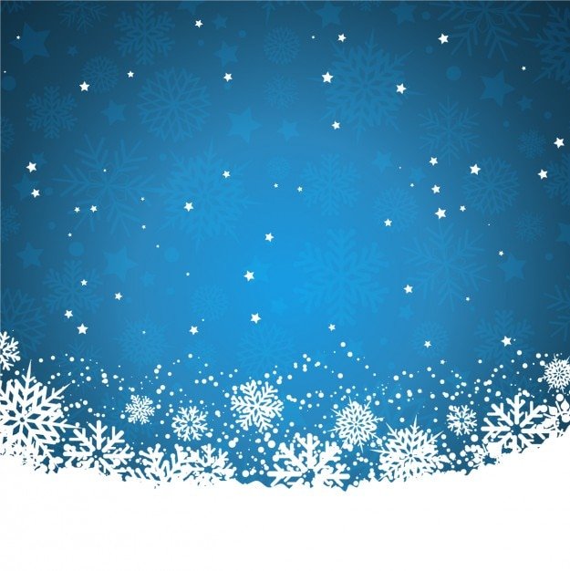Blue background with snowflakes and stars Free Vector