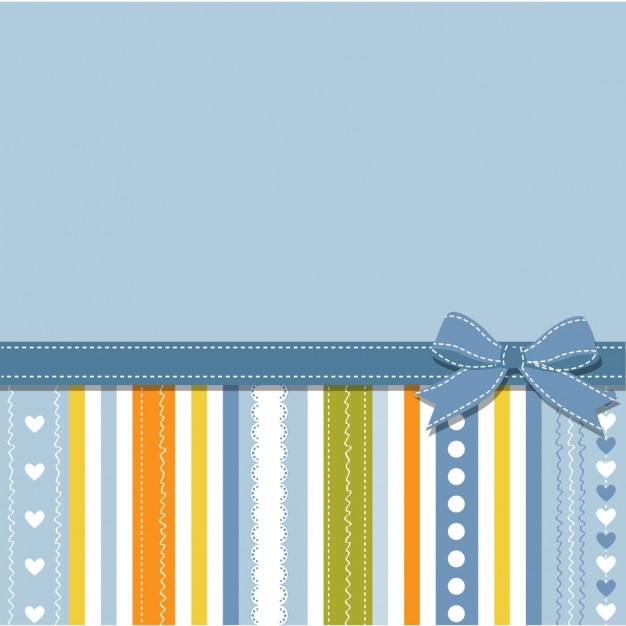 Blue background with stripes and ribbon Free Vector