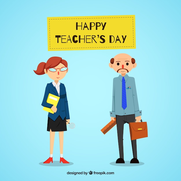 Blue background with teachers in flat\ style