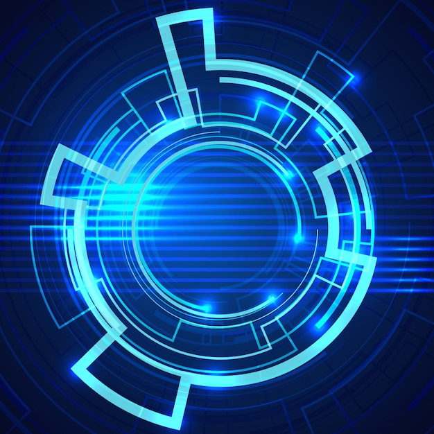 Blue Background With Technological Design Vector