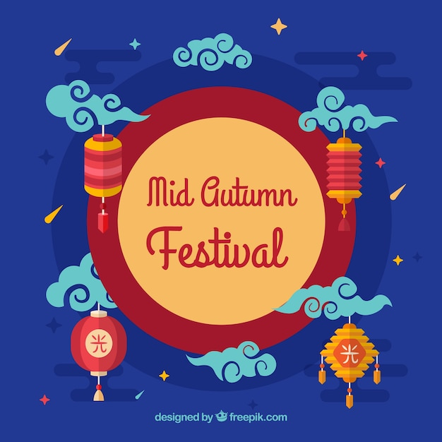 Blue background with traditional elements, mid autumn festival
