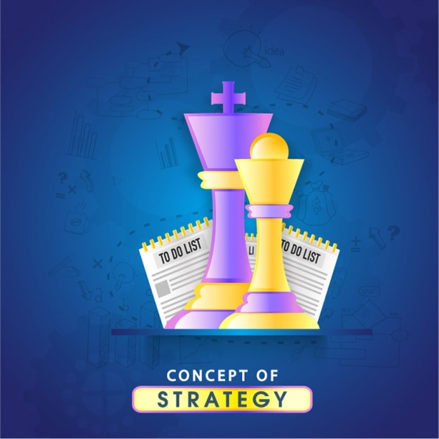 Blue background with two chess pieces Premium Vector