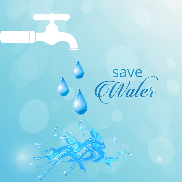 Blue background with a white faucet, world water day Free Vector