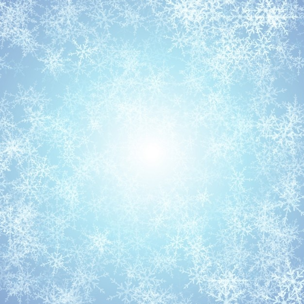 Blue background with white snowflakes Free Vector