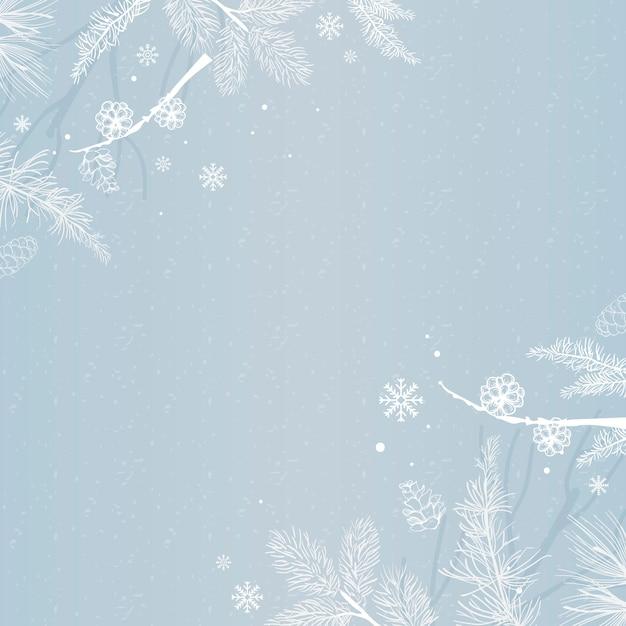 冬の装飾と青い背景 無料ベクター