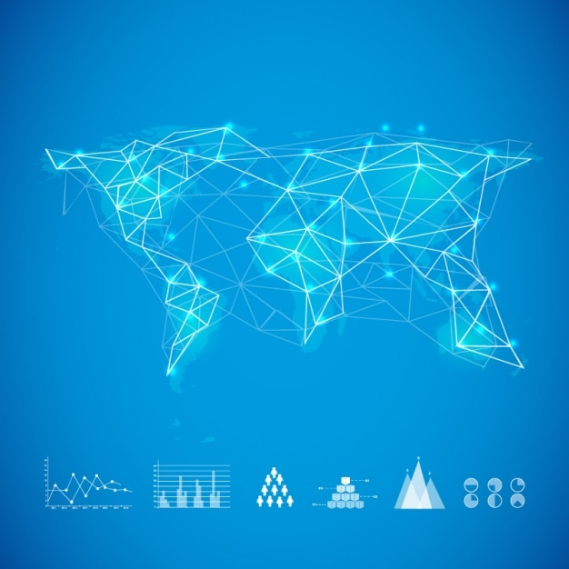 Blue background with world map and graphs vector premium download blue background with world map and graphs premium vector gumiabroncs Images