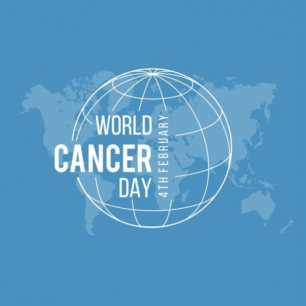 Blue background, world cancer day Free Vector
