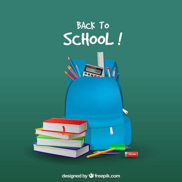 Blue backpack background and books in realistic style Free Vector