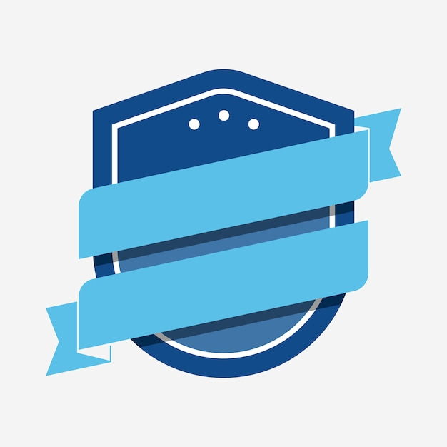 Blue badge embellished with a banner Free Vector