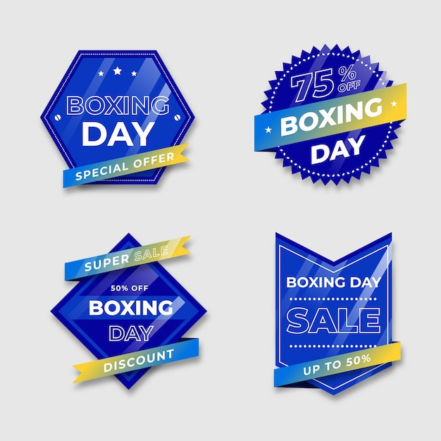 Blue badge with gradient ribbon tones of boxing day Free Vector