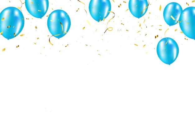 青い風船、紙吹雪ゴールドコンセプトデザインテンプレート休日幸せな日、背景のお祝い Premiumベクター
