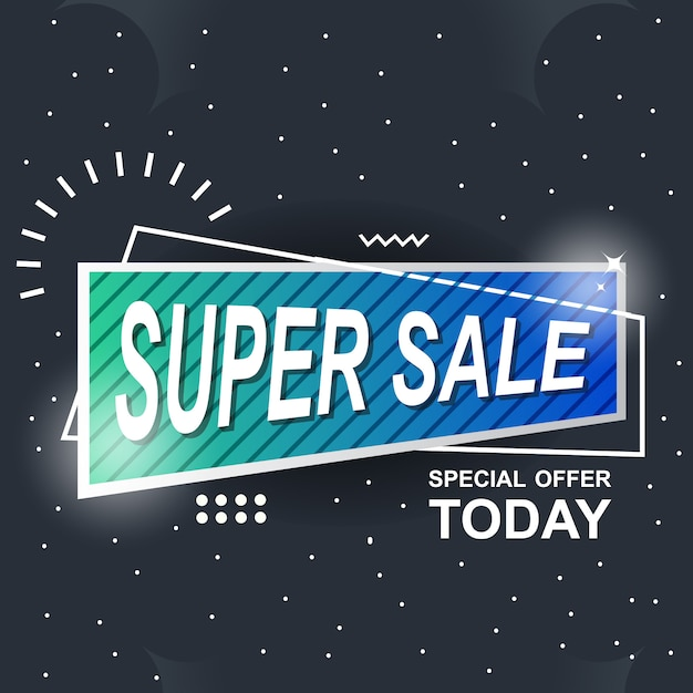 Blue banner background abstract super sale Premium Vector