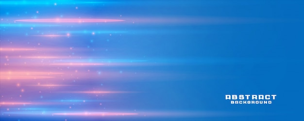 Blue banner background with light streak and text space Free Vector