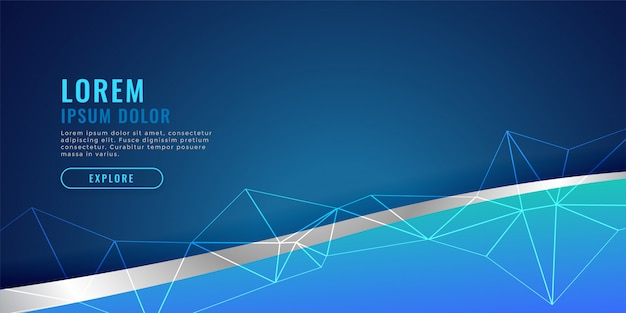 Blue banner design with wave and wire mesh Free Vector