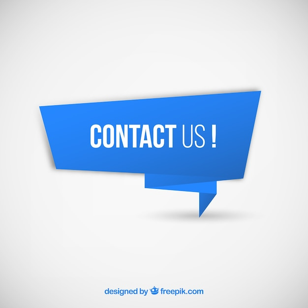 Blue banner with text contact us vector free download for Contact us template free download