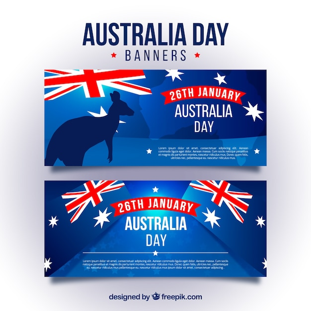 Blue Banners For Australia Day With Flags Vector