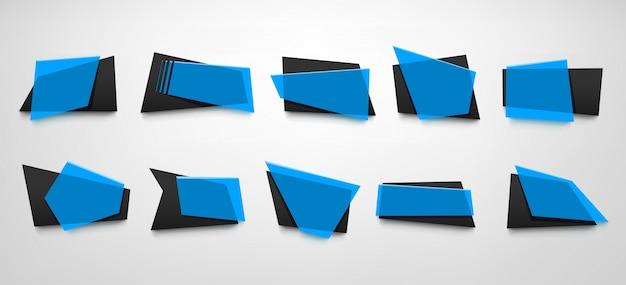 青いバナーセット Premiumベクター