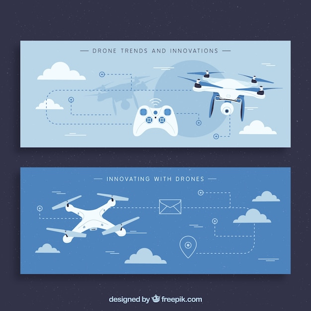 Blue banners with modern drones Free Vector