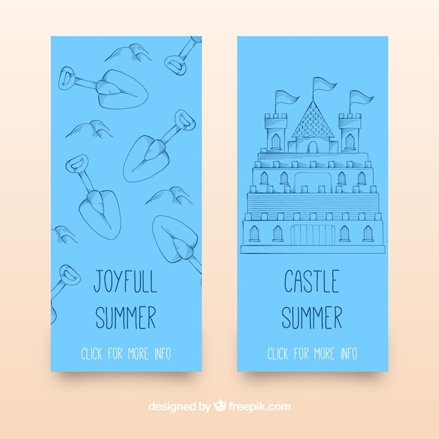 Blue banners with sandy castle and\ shovels
