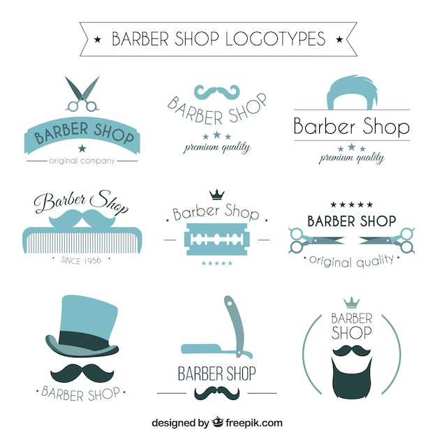 Blue barber shop logos Free Vector