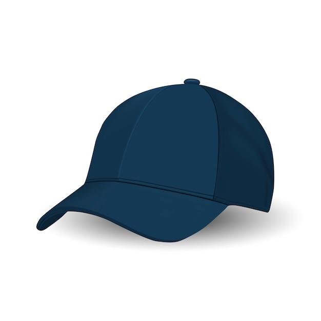 Blue baseball cap, sport hat vector template. Premium Vector