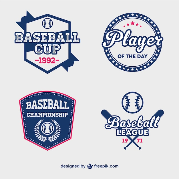 Blue baseball cup labels Free Vector