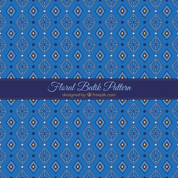 Blue Batik Floral Pattern Vector
