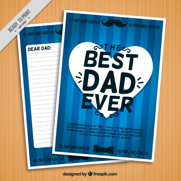 Blue best dad ever letter Flyer Tamplate
