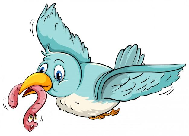 Blue bird flying Free Vector